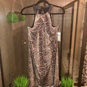 Brown python dress with leather halter neckline